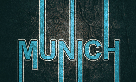 Image relative to Germany travel theme. Munich city name in geometry style design. Stock Photo
