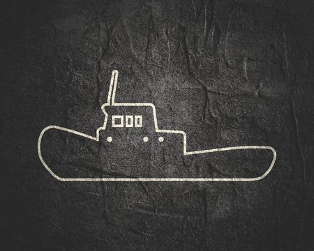 Marine tug icon in thin line style.
