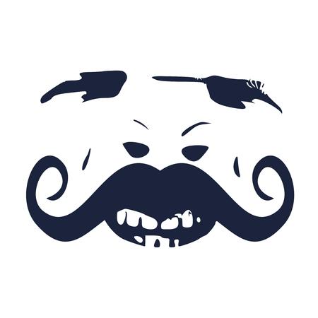 Brutta faccia demoniaca. Personaggio da urlo del diavolo. Demone o mostro che urla con la bocca aperta come una faccia da orrore vista frontale.