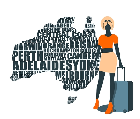 Woman traveler silhouette standing with baggage. Retro hair style. Australian cities names in geometry style design on backdrop. Creative vintage typography poster concept.