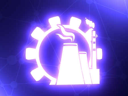 Gear and atomic power station icon. 3D rendering Foto de archivo