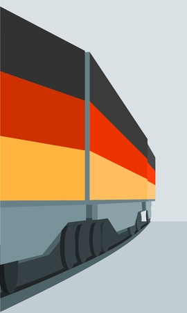 Train Freight transportation. Cargo transit. Container textured by flag of the Germany