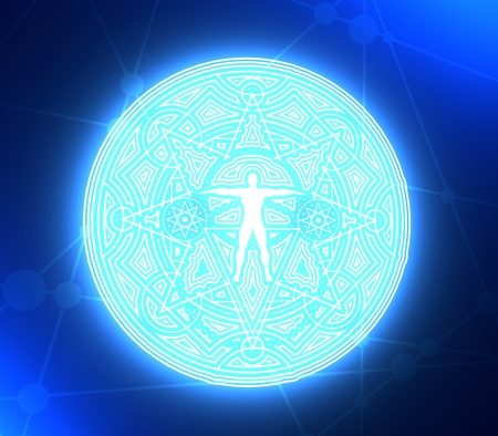 Mystery, witchcraft, occult and alchemy tattoo sign. Mystical vintage gothic geometry thin lines symbol with silhouette of a muscular man. 3D rendering Stock Photo