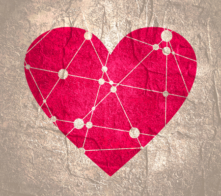 Medical, technology, chemistry and science icon design template. Heart shape decorated by molecule and communication pattern. Connected lines with dots.