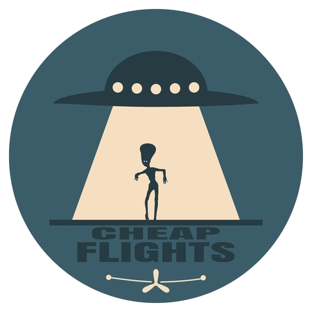UFO and silhouette of extraterrestrial alien. Space ship UFO ray of light in the night sky. Cheap flights text. Image relative to airplane traveling Vektoros illusztráció