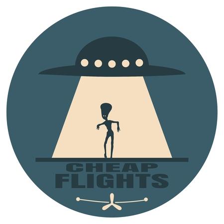 UFO und Silhouette eines außerirdischen Außerirdischen. Raumschiff UFO Lichtstrahl am Nachthimmel. Billigflüge text. Bild relativ zu Flugzeugreisen Vektorgrafik