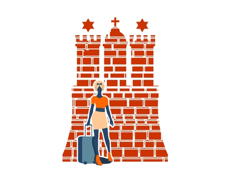 Woman traveler silhouette standing with baggage. Retro hair style. Hamburg city element from coat of arms