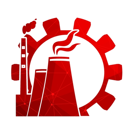 Gear and atomic power station icon textured by lines with dots.. Industrial relative set