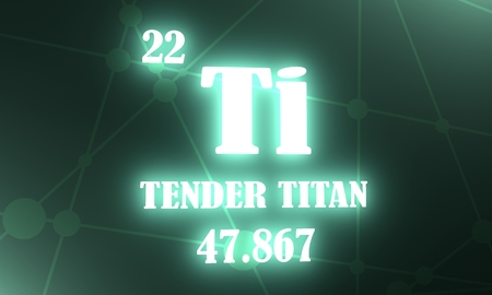 Tender titan. Image relative for gym and bodybuilding. Remastered titan chemical element tag. Chemistry in metaphor design. 3D rendering Stock fotó