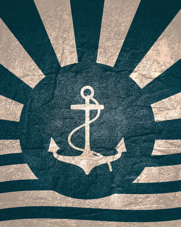 Abstract sun burst vintage banner. Anchor with rope silhouette Stock Photo