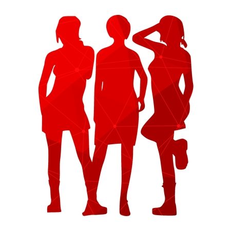 Fashion women silhouettes textured by lines and dots pattern. Various pose and cloth