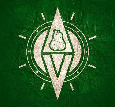Vegan emblem concept. Fresh healthy organic vegan food theme. Vegetarian eco green concept. Abstract compass with pear icon Imagens