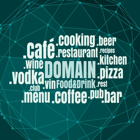 Domena nazywa chmurę słów w odniesieniu do tematu jedzenia i picia. Koncepcja telekomunikacji internetowej i internetowej
