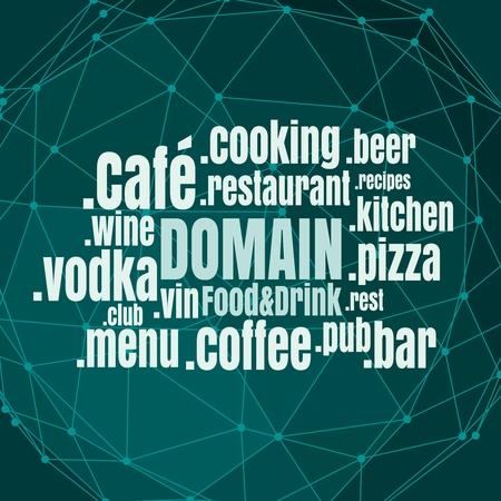 Nube de palabras de nombres de dominio en relación con el tema de alimentos y bebidas. Concepto de telecomunicaciones de Internet y web