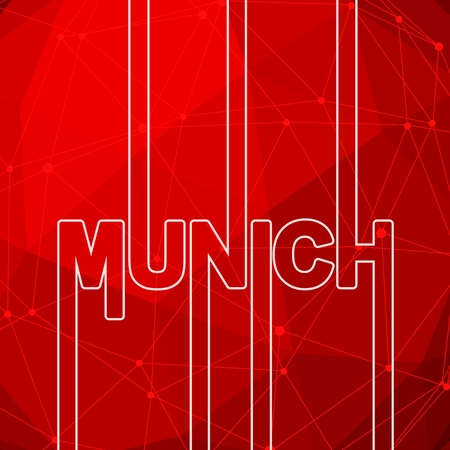 Munich city name in geometry style design. Creative vintage typography poster concept. Neon bulbs letters. Molecule and communication background. Connected lines with dots.