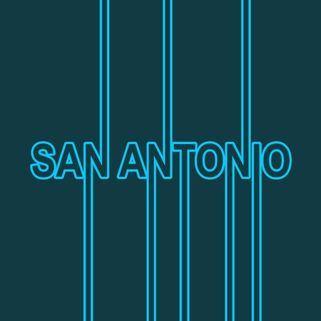 San Antonio city name in geometry style design. Creative vintage typography poster concept.