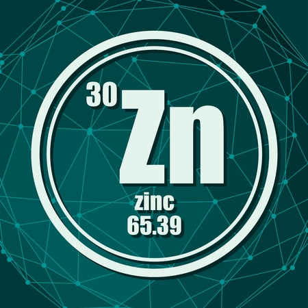 Zinc chemical element. Sign with atomic number and atomic weight. Chemical element of periodic table. Molecule And Communication Background. Connected lines with dots.