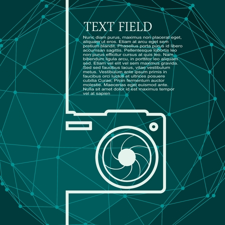 Photo camera icon. Outline silhouette with lens aperture. Field for text. Modern brochure, report or leaflet design template. Illustration