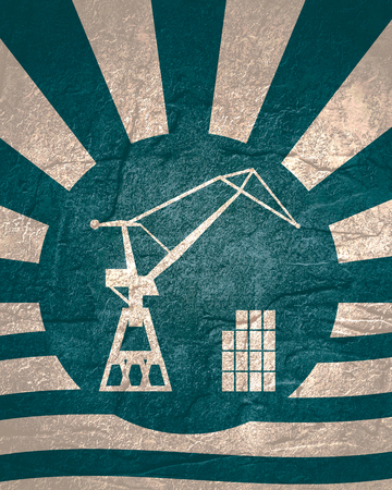 Cargo sea port crane icon. Abstract sun burst vintage banner Zdjęcie Seryjne