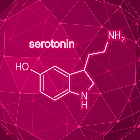 Chemical molecular formula hormone serotonin. Infographics illustration.