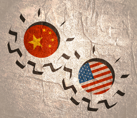 Partnership concept. USA and China association. Gears textured by flag 免版税图像