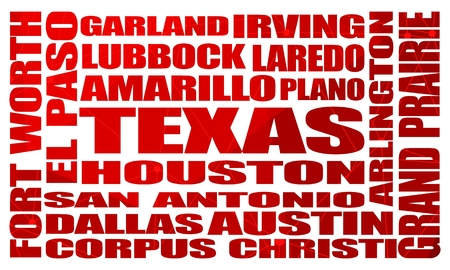 Image relative to USA travel. Texas cities and places names cloud. Illustration