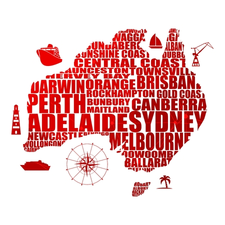 Map of Australia made from cities list. Textured by connected lines with dots. Stok Fotoğraf