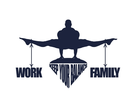 Balance between work and family. Concept image Stock Illustratie