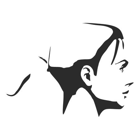 Face side view. Elegant silhouette of a female head. Short hair.