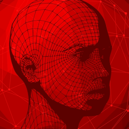 Head of the person from a 3d Grid. Human head wire model. 3D geometric face design. Polygonal covering skin. Connected lines with dots. Standard-Bild - 126093129