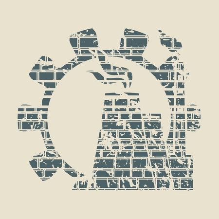 Gear and atomic power station icon. Ancient brick wall texture