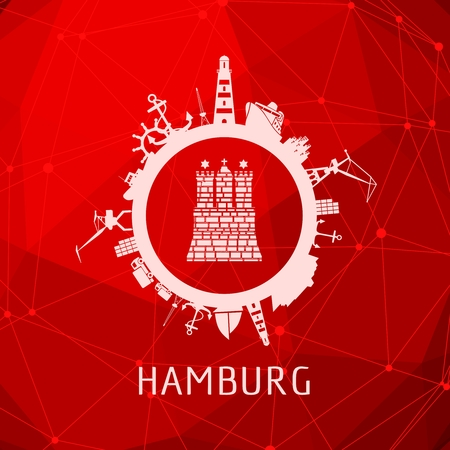 Sea shipping and travel relative silhouettes around the circle. Hamburg city element from coat of arms. Molecule and communication background. Connected lines with dots.