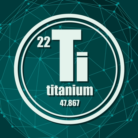Titanium chemical element. Sign with atomic number and atomic weight. Chemical element of periodic table. Molecule And Communication Background. Connected lines with dots.