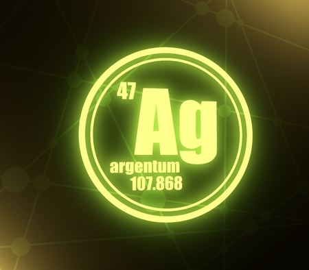 silver chemical element. Sign with atomic number and atomic weight. Chemical element of periodic table. Molecule And Communication Background. Connected lines with dots. 3D rendering