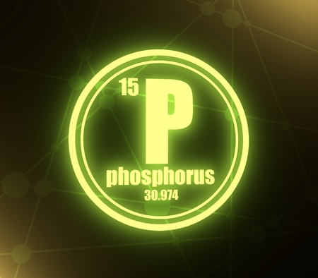 Phosphorus chemical element. Sign with atomic number and atomic weight. Chemical element of periodic table. Molecule And Communication Background. Connected lines with dots. 3D rendering Stock Photo