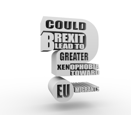 United Kingdom exit from European Union relative image. Brexit named politic process. Could brexit lead to to greater xenophobia toward EU migrants question. 3D rendering Stock Photo