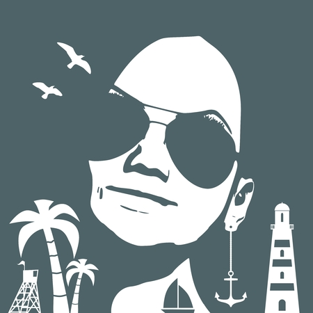 Summer vacation relative collage. Portrait of beautiful woman in sunglasses. Front view. Palm, safe guard tower, anchor and lighthouse icons.