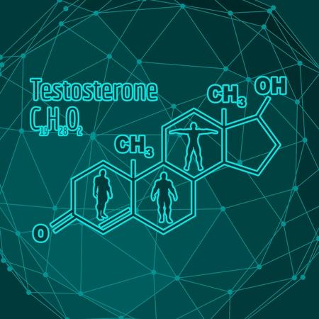 Chemical molecular formula hormone testosterone. Infographics illustration. Man silhouette