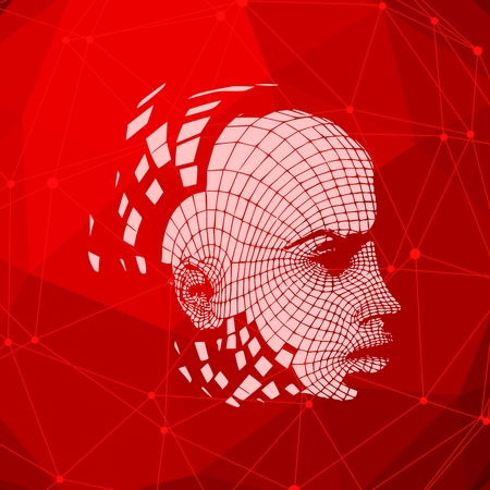 Head of the person from a 3d Grid. Human head wire model. 3D geometric face design. Polygonal covering skin. Connected lines with dots. Standard-Bild - 125959689
