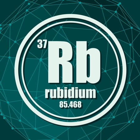 Rubidium chemical element. Sign with atomic number and atomic weight. Chemical element of periodic table. Molecule And Communication Background. Connected lines with dots.
