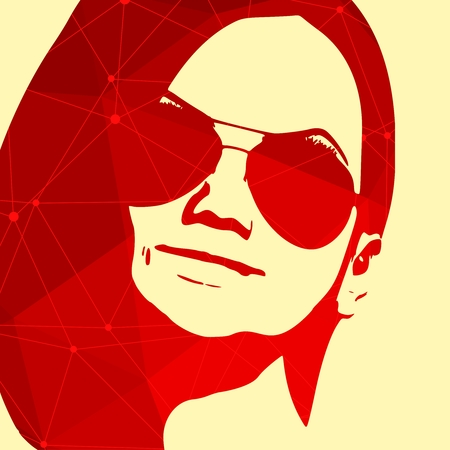 Portrait of beautiful woman in sunglasses. Short hair. Connected lines with dots.