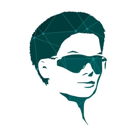 Ritratto di bella donna in occhiali da sole neri. Capelli corti. Linee collegate con punti. Vettoriali