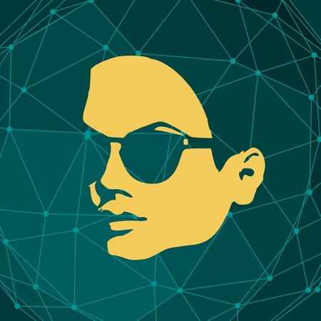 Portrait of beautiful woman in black sunglasses. Short hair. Connected lines with dots.