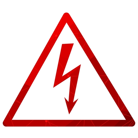 High Voltage Sign. Danger symbol. Warning icon. Textured by lines and dots pattern