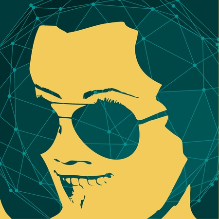 Portrait of surprised woman with open mouth in black sunglasses. Retro hairstyle. Connected lines with dots.