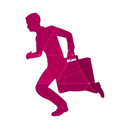 Businessman running with briefcase. Abstract illustration. Modern lifestyle metaphor. Textured by lines and dots pattern