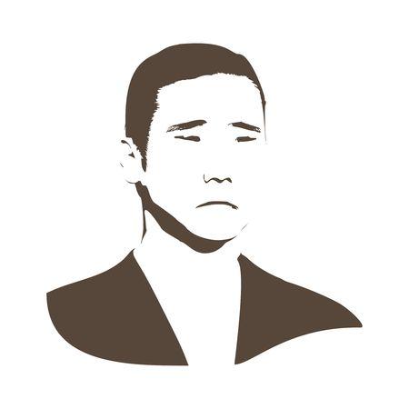 Asiatisches Gesicht des jungen Chinesen, Thailänders, Japaners und Koreaners. Porträt eines wütenden und depressiven Mannes. Gesichtsausdrücke. Frontansicht des Gesichtes. Vektorgrafik