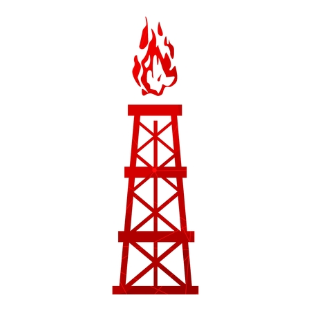 Image relative to oil mining industry. Gas tower icon. Textured by lines and dots pattern