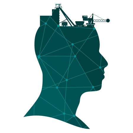 Kopf mit Kohlebergbau-Symbolen. Schwerindustrie und Energie. Texturiert durch verbundene Linien mit Punkten.. Vektorgrafik