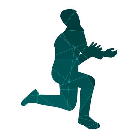 Silhouette d'homme d'affaires dans la pose de prière. Icône Web. Texturé par motif de lignes et de points Vecteurs